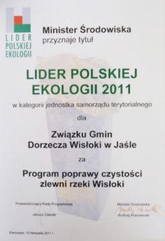 dyplom Lidera Polskiej ekologii  2011